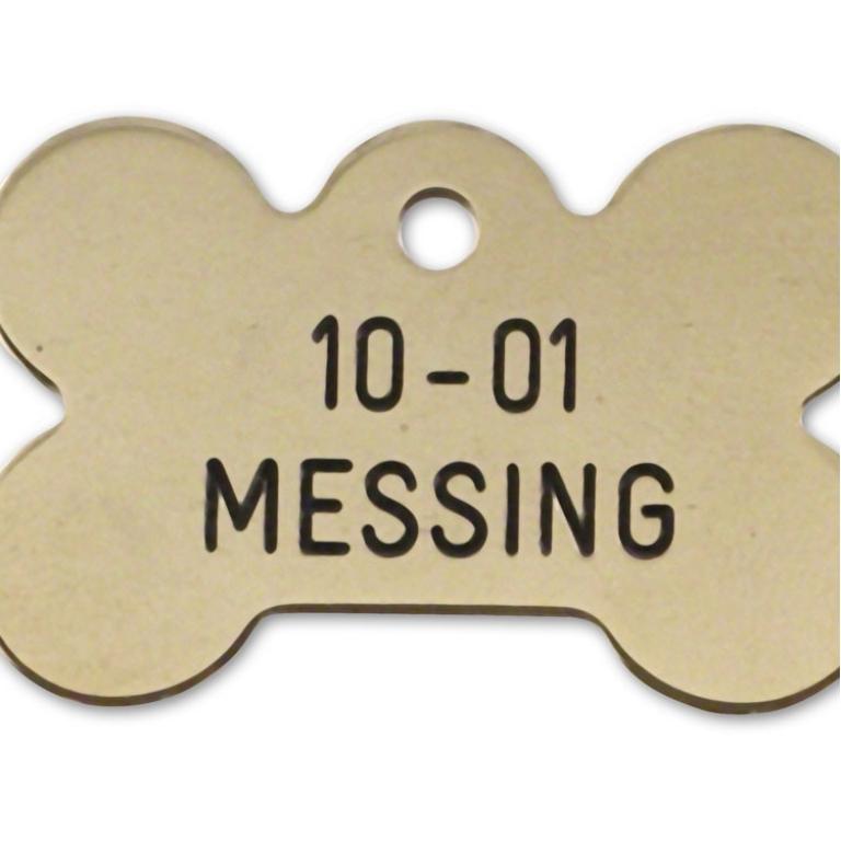 Hundetegn messing 37x25 mm